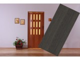 Plastové shrnovací dveře prosklené - wenge